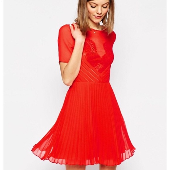 c37d2396a20ae ASOS Dresses | New Lace Pleated Coral Dress | Poshmark